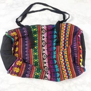 Handbags - Colorful Aztec Boho Embroidered Soft Duffle Bag